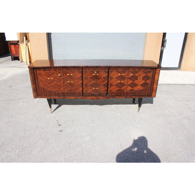 1940s 1940s Art Deco Exotic Macassar Ebony Mother-Of-Pearl Sideboard For Sale - Image 5 of 13