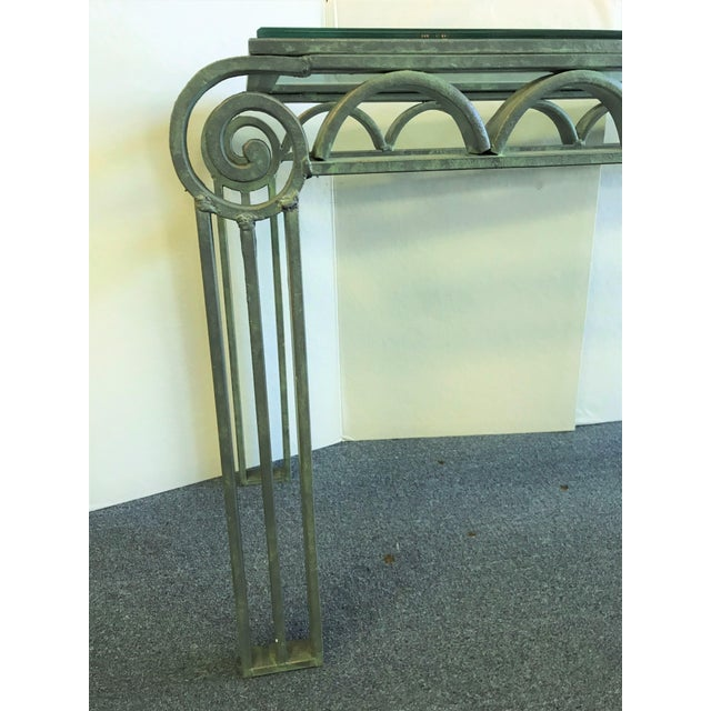 Mid 20th Century Neoclassical Iron Scroll Console Table in a Verdigris Finish For Sale - Image 5 of 12