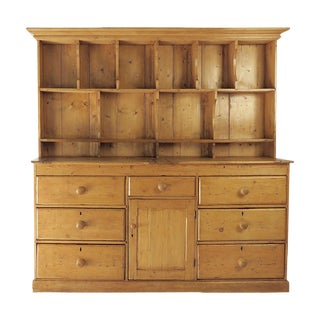 Circa 1850 Rustic Irish Pine Dresser With Plate Rack