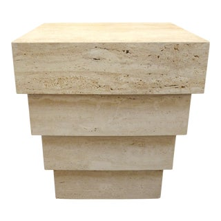 Stepped Travertine Table For Sale