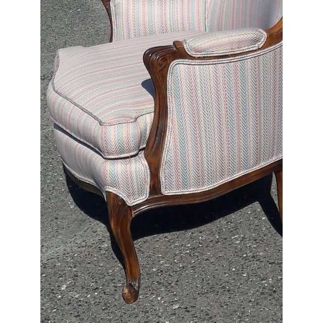 1950s French Provincial Walnut Bergere Chair For Sale In Philadelphia - Image 6 of 8