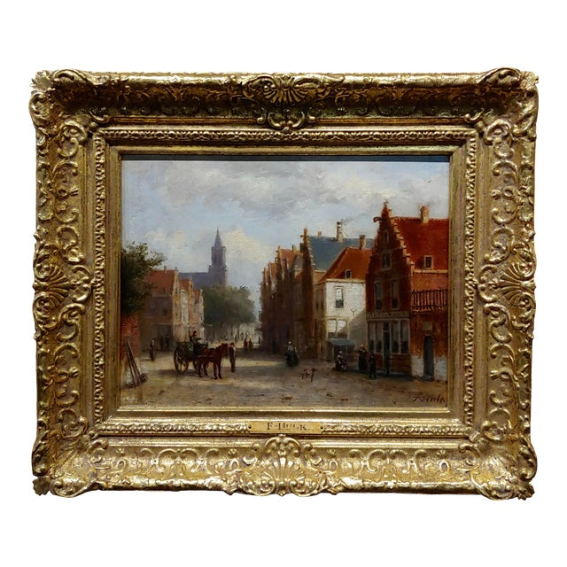 Johannes Frederick II Hulk -19th C. Early Market Day in Amsterdam-Oil Panting For Sale