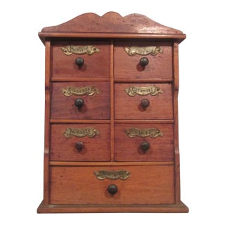 1910s Vintage Early American Apothecary Spice Cabinet For Sale