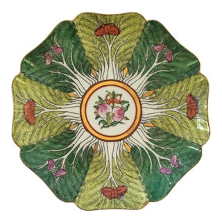 Mid-Century Porcelain Bok Choy Leaf Decorative Scalloped Plate For Sale