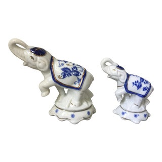 1970s Chinoiserie White and Blue China Elephant Statues - a Pair For Sale