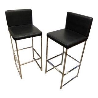 1970s Chrome and Black Bar Stools - a Pair For Sale