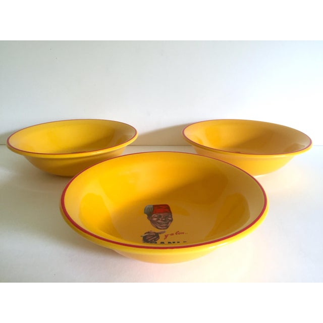 """ Banania "" Jars France Editions Clouet Rare Vintage Yellow Ceramic Bowls - Set of 3 For Sale In Kansas City - Image 6 of 13"