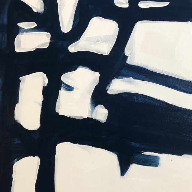 Contemporary Original Contemporary Wayne Cunningham 36 X 36 Blue & White Abstract Painting For Sale - Image 3 of 6