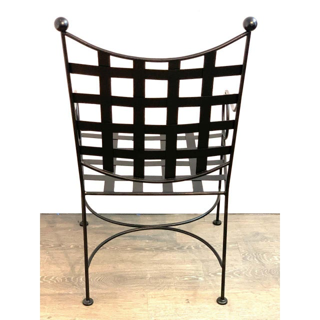Late 20th Century Salterini Style Woven Wrought Iron Patio Armchairs - a Pair For Sale - Image 5 of 7