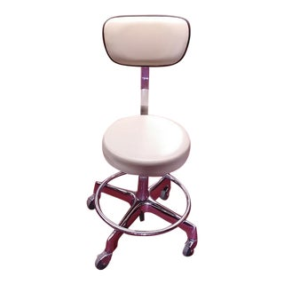 Vintage Mid-Century Modern Industrial Adjustable Caster Stool Chair For Sale