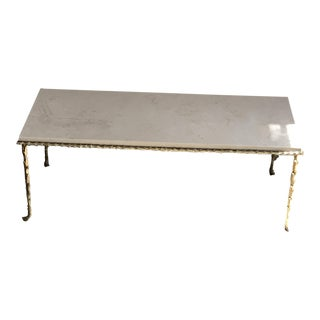 1970s Maison Bagues French Gilt Bronze and Marble Low Table