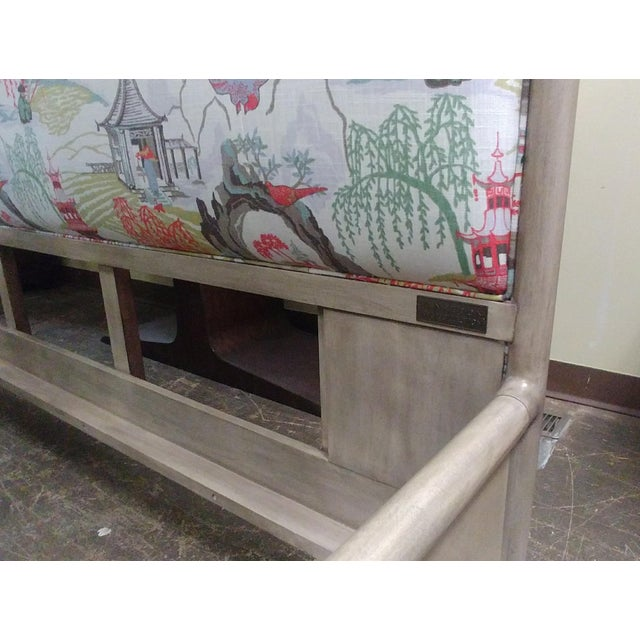 Henredon Furniture 1945 Collection Catherine Grey Makore King Panel Bed with Chinoiserie Fabric For Sale - Image 10 of 12