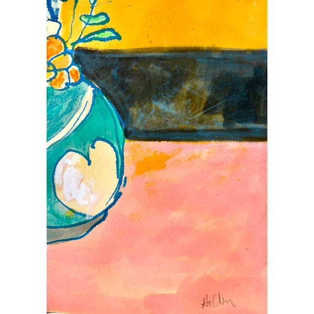 This is a happy and bright watercolor and ink painting, painted in France where the artist Martha Holden was so impressed...