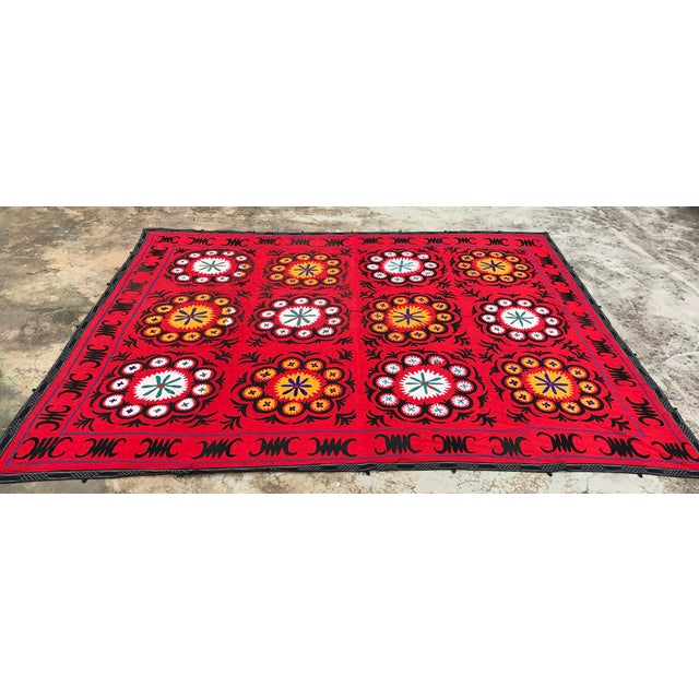 Boho Chic Handmade Red Suzani Textile For Sale - Image 3 of 6