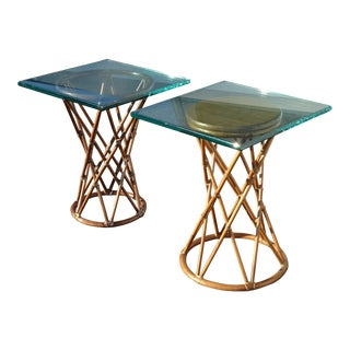 Pair of McGuire Vintage French Country Bamboo End Tables W Glass Top Asis For Sale