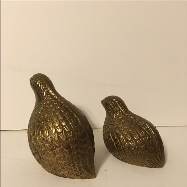 Vintage Brass Quails - A Pair - Image 4 of 6