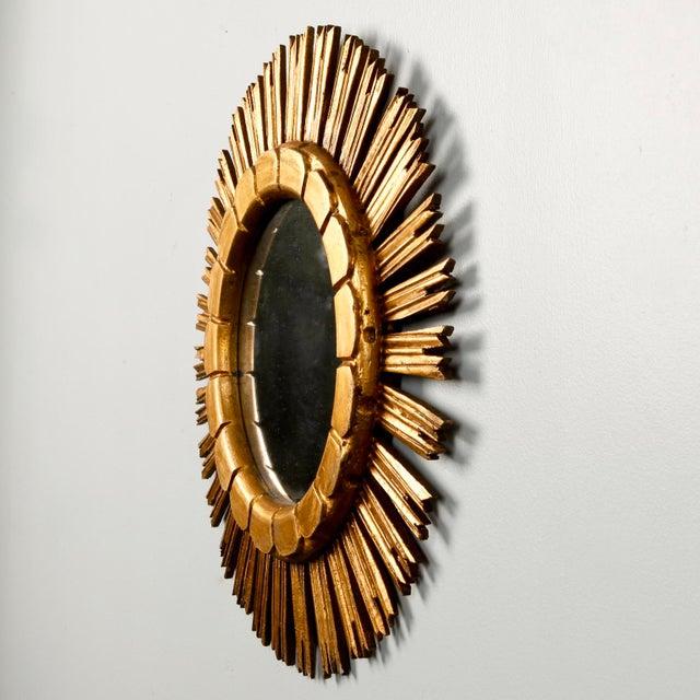 Mid-Century Medium Size Giltwood Sunburst Mirror For Sale - Image 4 of 7