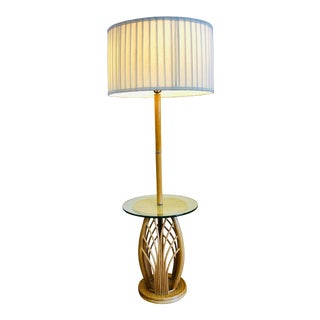1960s Mid Century Modern Rattan Restored Bamboo Floor Lamp With Side Table For Sale