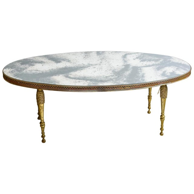 French Mirrored Top Cocktail Table With Brass Gallery & Bronze Legs, C.1940-50 For Sale - Image 11 of 11