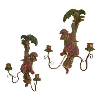 Vintage Venetian Monkey Wall Sconces - a Pair For Sale