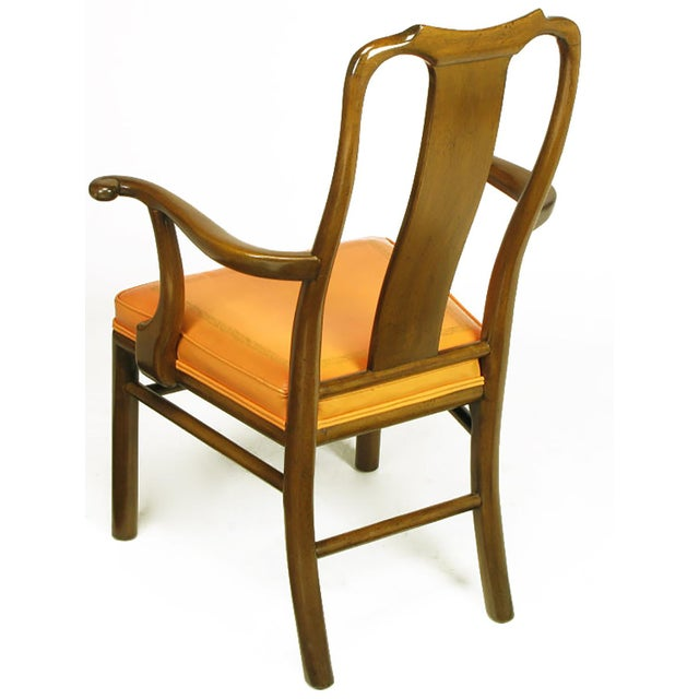 Six Walnut and Tooled Leather Splat-Back Dining Chairs - Image 7 of 10