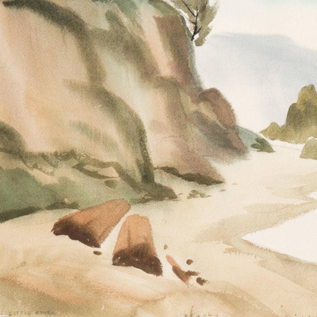 'Hidden Cove, Big Sur' by Nat Levy, Society of Western Artists, Mid-Century California Watercolor For Sale - Image 4 of 8