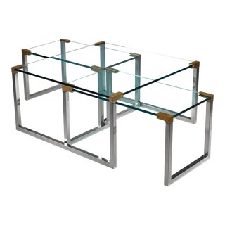Peter Ghyczy set of 3 modular glass, brass and chrome tables, Dutch, 1970s For Sale