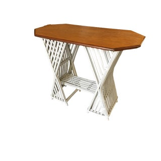 Painted Stick Rattan Console Table W/ Mahogany Top For Sale
