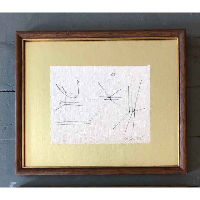 Abstract Gallery Wall Collection 2 Original Vintage Robert Cooke Abstract Ink Drawings For Sale - Image 3 of 5