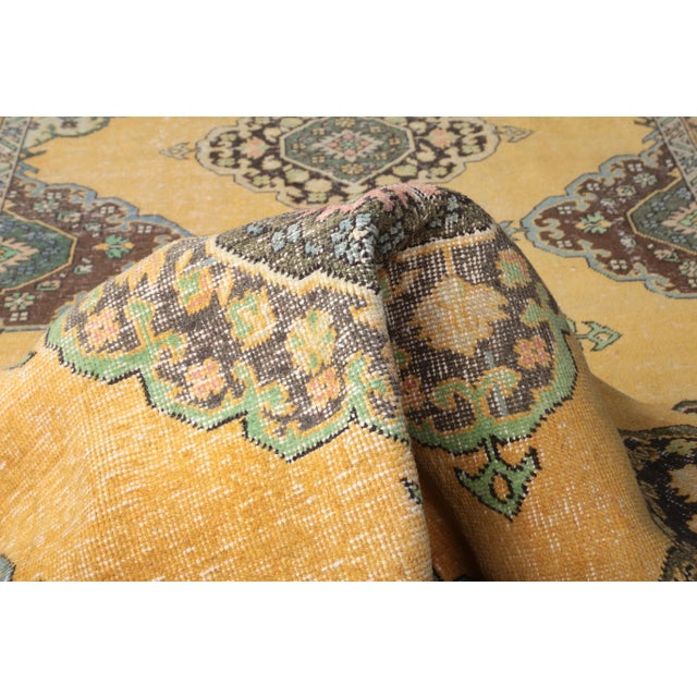 """Amber 1960's Wide Vintage Turkish Hand-Knotted Runner Rug - 5' X 12'4"""" For Sale - Image 8 of 11"""