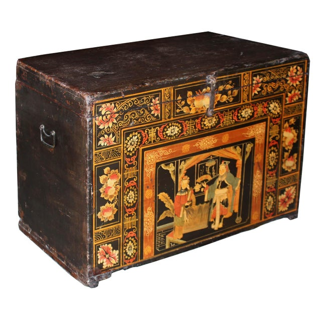 Symbols of double happiness and prosperity are hand-painted on the front of wedding trunk from Mongolia. Lovely to use as...