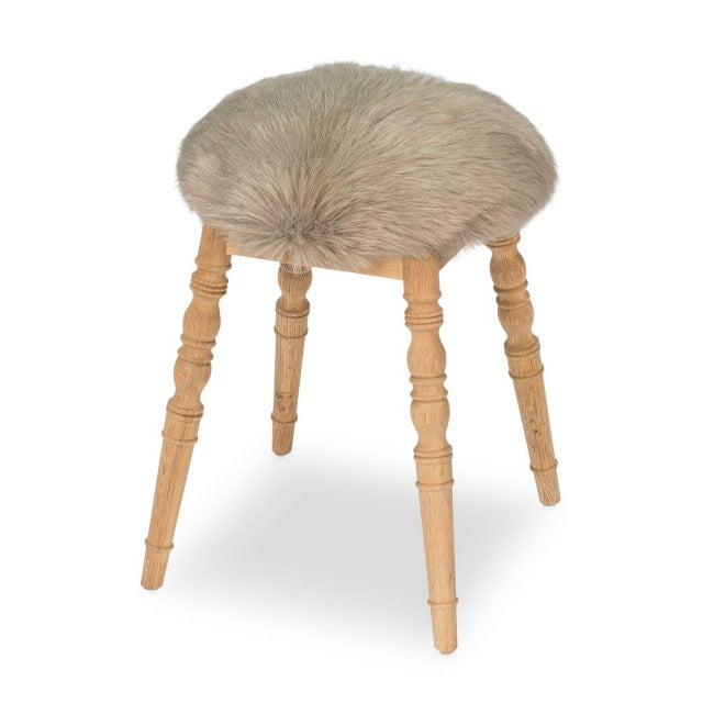 Sarreid Ltd 'Winoma' Beige Stool For Sale In Raleigh - Image 6 of 6