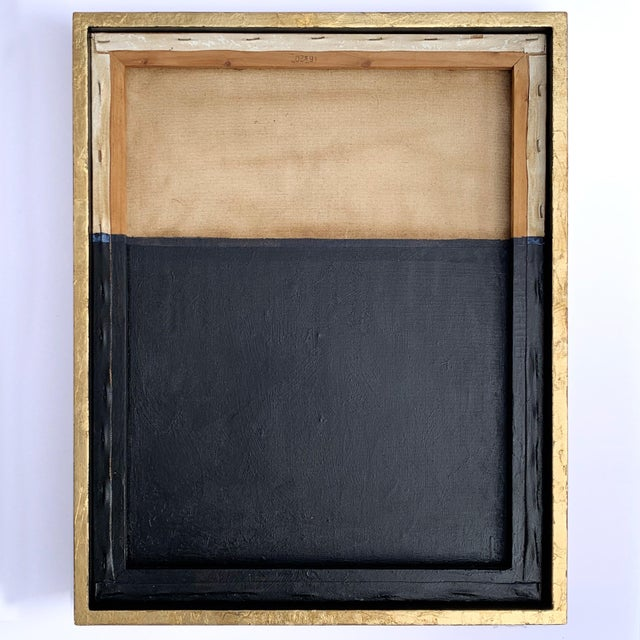 Minimal Abstract Black and Tan Framed Painting For Sale - Image 11 of 11