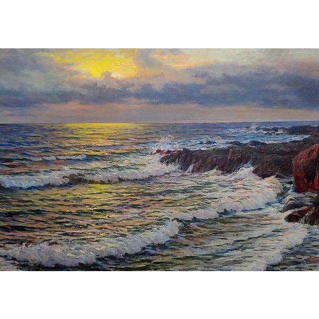 "Beaux-Arts Vartan Mahokian ""Seascape Magic Sunset"" Oil Painting C.1920s For Sale - Image 3 of 11"