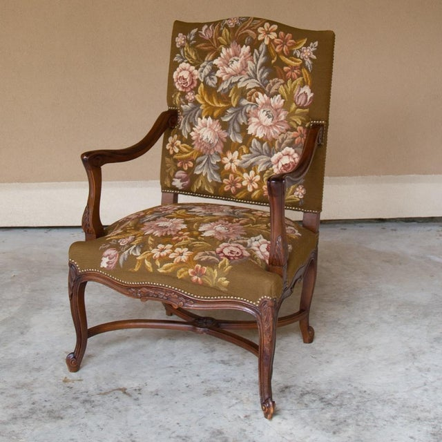 19th Century Antique French Louis XV Original Needlepoint Tapestry Armchair For Sale - Image 13 of 13