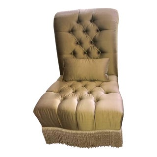 Art Deco Bronze Silk Slipper Chair With Tufting and Fringe