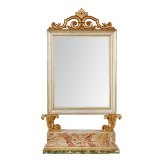 18th Century Italian Baroque Mirror with Faux Marble Base For Sale