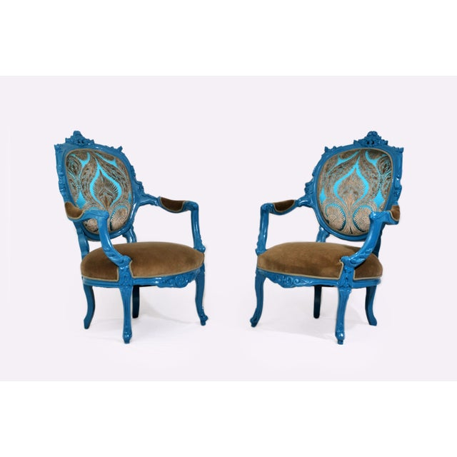 Antique French Blue Peacock Chairs - a Pair - Image 2 of 4