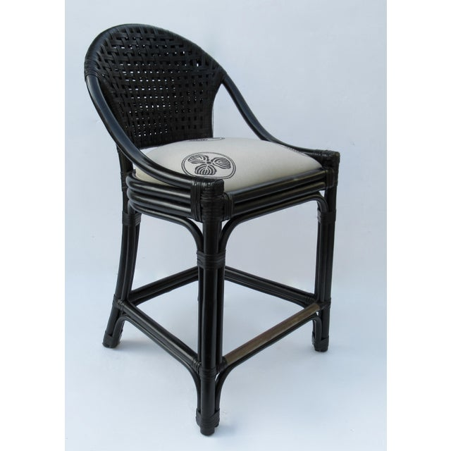 Metal C.1996 Palecek Black Leather Strapped Rattan Counter Stools - a Pair For Sale - Image 7 of 12