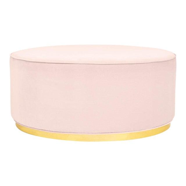 Chubby Ottoman in Blush Pink Velvet For Sale