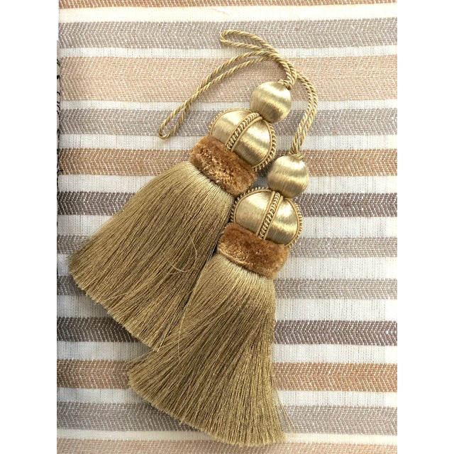 Wood Gold Key Tassels With Cut Velvet Ruche- a Pair For Sale - Image 7 of 11