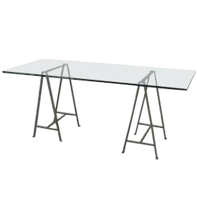 Contemporary Post-War Design Glass Table Desk For Sale - Image 3 of 3