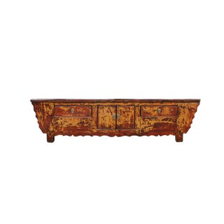 Oriental Distressed Rustic Brown Lacquer Low Console Table Cabinet For Sale