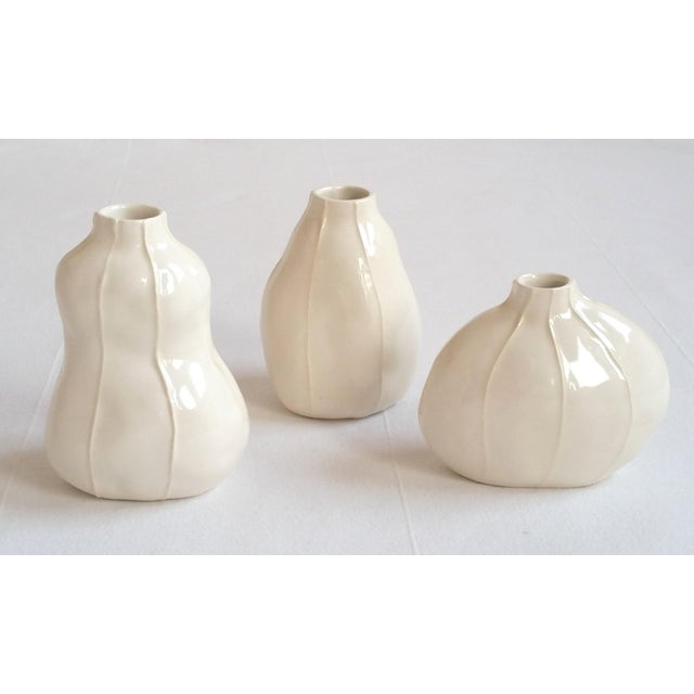 Contemporary White Bud Vases - Set of 3 For Sale - Image 9 of 9