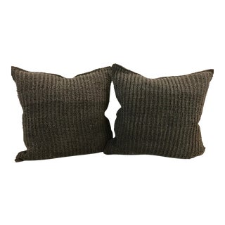 Transitional Restoration Hardware Square Brown Suede Knit Pillows - Pair For Sale