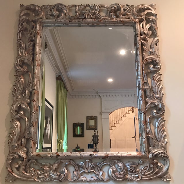 Glass Art Deco Silver Brocade Large Wall Mirror For Sale - Image 7 of 7