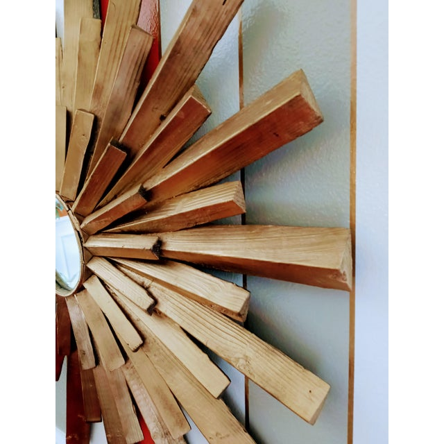 1990s Large Solid Wood Carved Painted Gold Starburst Wall Mirror For Sale - Image 5 of 7