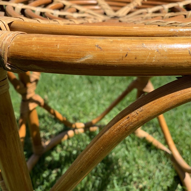 Boho Chic Vintage Boho Round Rattan & Bamboo Side Table / Plant Stand For Sale - Image 3 of 9