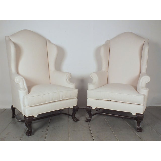Traditional English Antique Wingback Chairs - Pair - Image 2 of 10