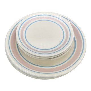 McCoy Pink and Blue Band Dinnerware - 6 Pieces